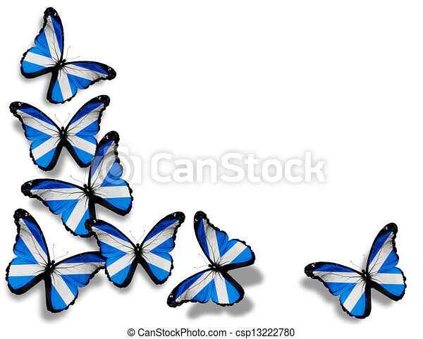 Scottish flag butterflies, isolated on white background - csp13222780