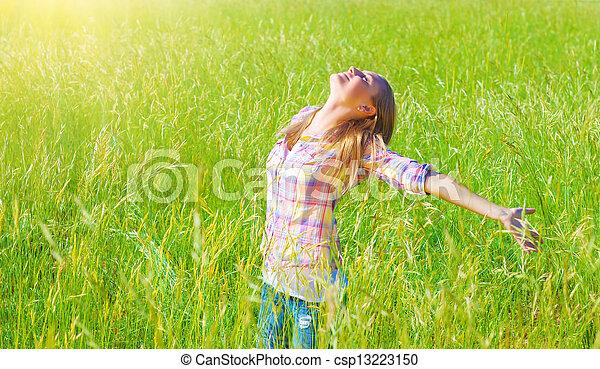 Woman having fun outdoor  - csp13223150