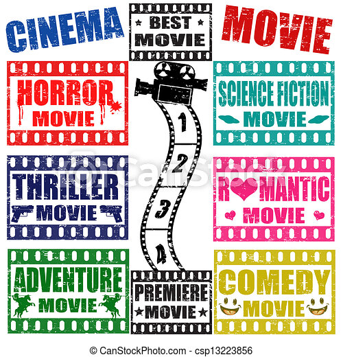clipart vector of movie genres stamps set of movie