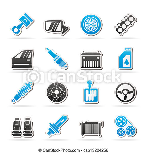 Detailed car parts icons - csp13224256