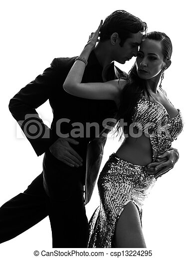couple man woman ballroom dancers tangoing  silhouette - csp13224295
