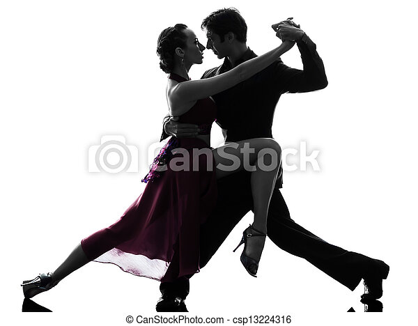 couple man woman ballroom dancers tangoing  silhouette - csp13224316