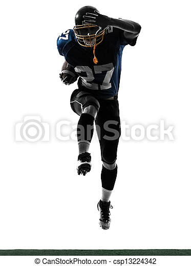american football player man running  silhouette - csp13224342
