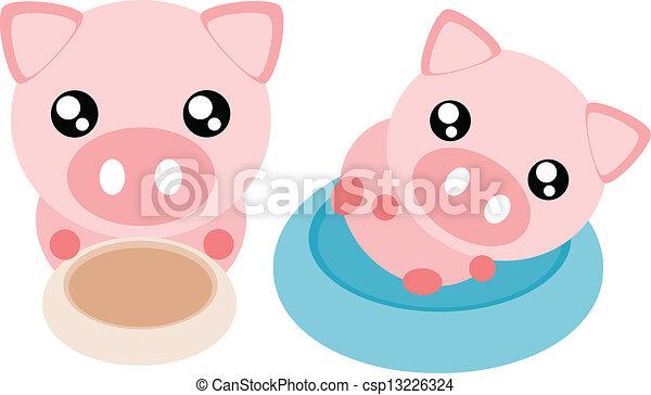 Cartoon pig illustration - csp13226324