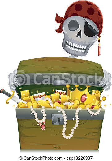 Clipart Vector of Pirate Treasure Chest - Illustration of an Open ...