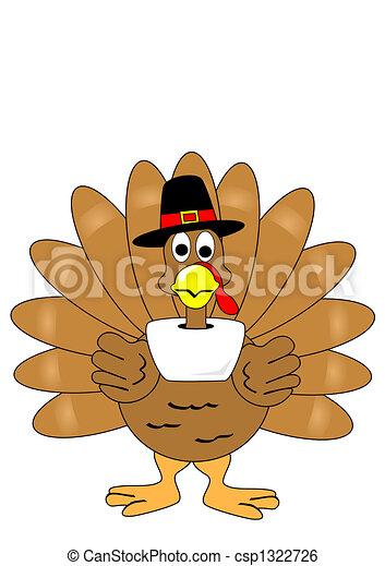 Isolated turkey with pilgrim hat - csp1322726