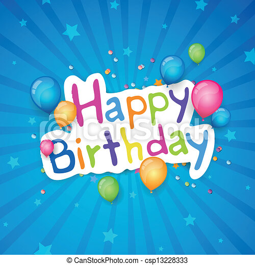 Vector Happy Birthday Greeting Card - csp13228333