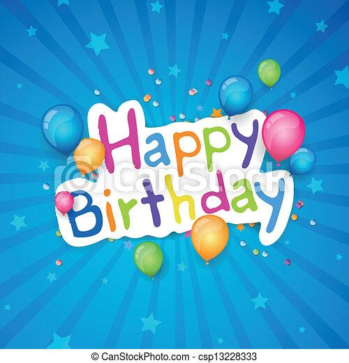 Vector Happy Birthday Greeting Card - csp13228333