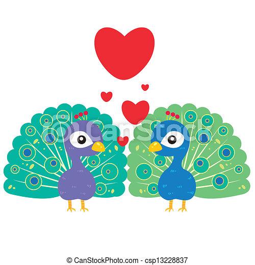 Cute Peacock Drawings One Pair of Cute Peacocks