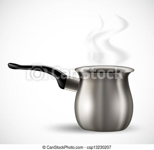 Coffee Pot Drawing Realistic Steel Coffee Pot on