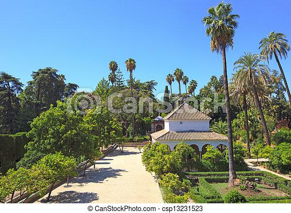 Royal Alcazar Gardens landmark. Seville, Andalusia, Spain. - csp13231523
