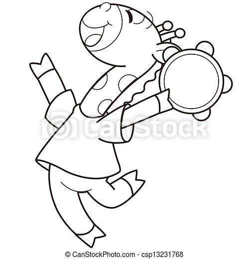 Clip Art Vector of Cartoon Giraffe Playing a Tambourine - Cartoon ...