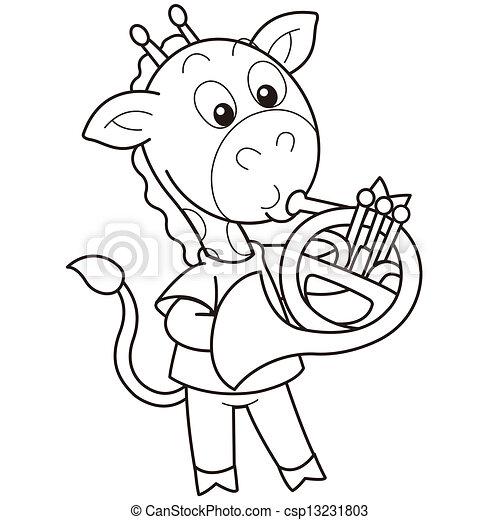 Clipart vettoriali di cartone animato giraffa gioco - Cartone animato giraffe immagini ...