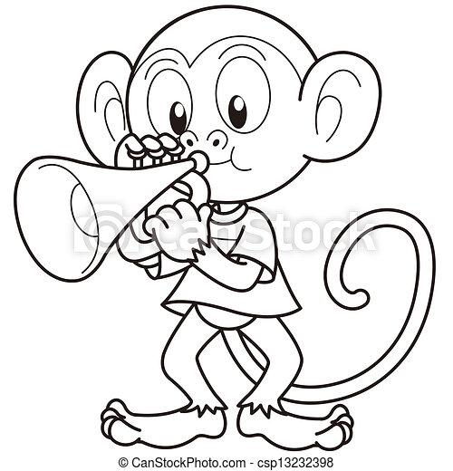 猴子, 喇叭, 玩, 卡通漫画 - csp13232398
