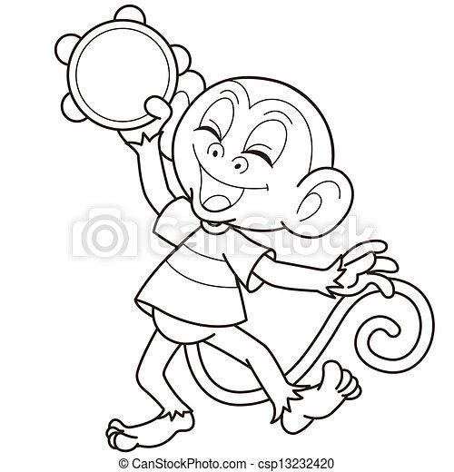 Baby Monkey Clip Art Black And White