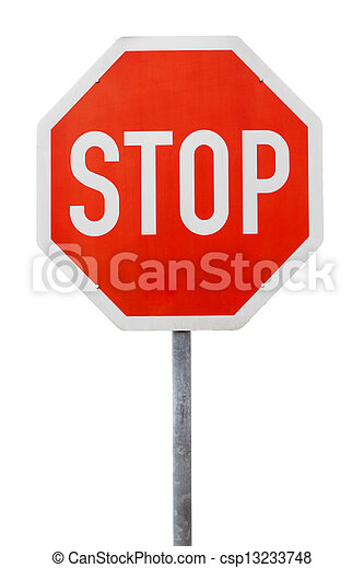 Red stop sign on a metal pole - csp13233748