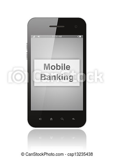 Smart phone with mobile banking button on its screen isolated on white background.   - csp13235438