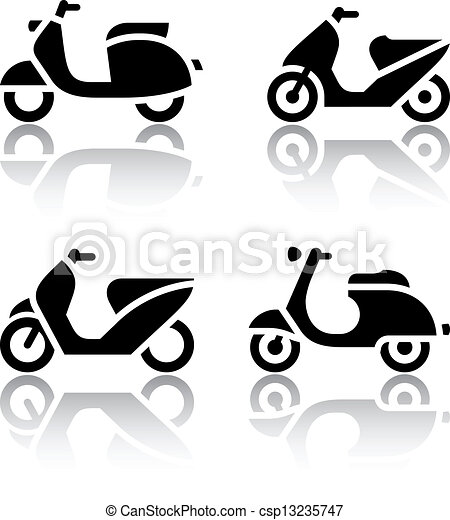 Set of transport icons - scooter and moped - csp13235747