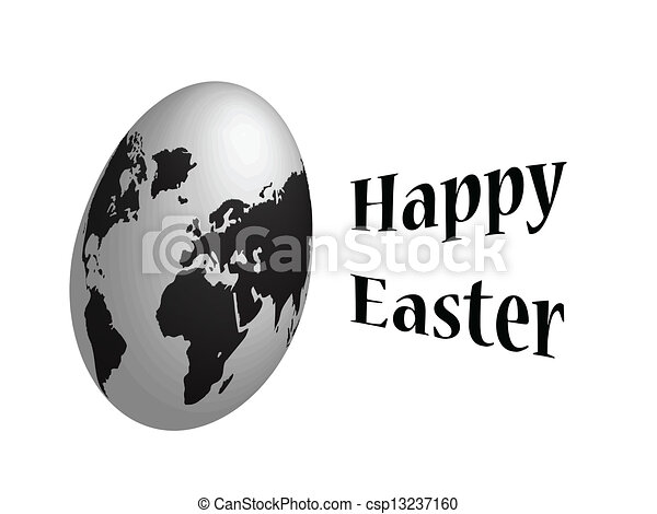 Happy easter globe egg - csp13237160
