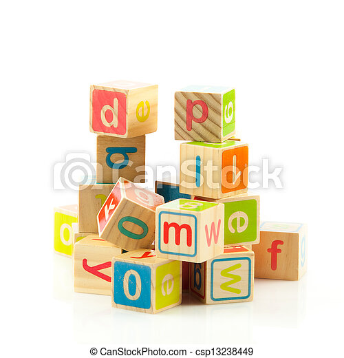 Stock Photo - wooden toy cubes with letters. Wooden alphabet blocks ...