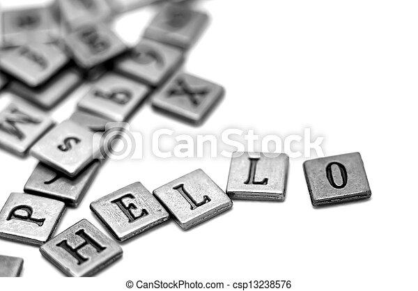 Metal scrapbooking letters spelling Hello - csp13238576