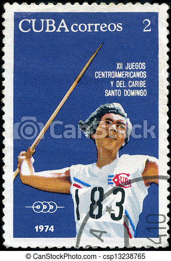 CUBA-CIRCA 1974 : A post stamp printed in Cuba shows Javelin, series 12th Central American and Caribbean Games, Santo Domingo, circa 1974 - csp13238765
