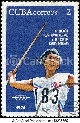 CUBA-CIRCA 1974 : A post stamp printed in Cuba shows Javelin, series 12th Central American and Caribbean Games, Santo Domingo, circa 1974 - csp13238765
