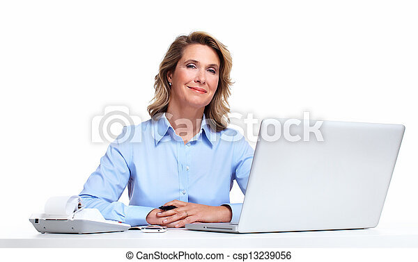 Business woman with a laptop computer. - csp13239056