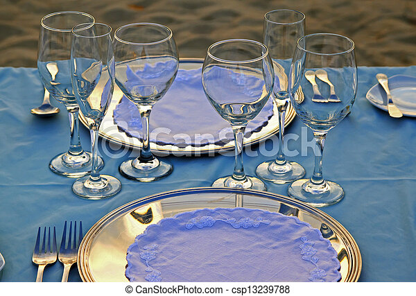 Tropical wedding place setting 06 - csp13239788