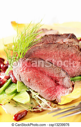 Roast beef with vegetable garnish  - csp13239976