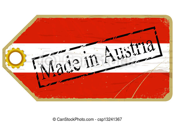 Vintage label with the flag of  Austria - csp13241367