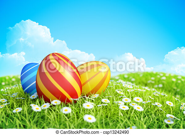 Easter Background eggs on meadow. - csp13242490