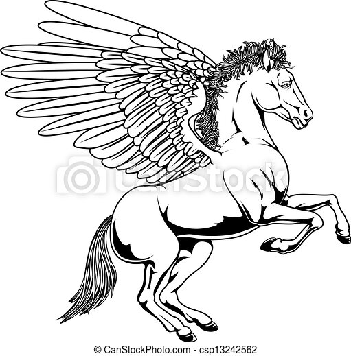 Pegasus horse with wings rearing on... csp13242562 - Search Clipart ...