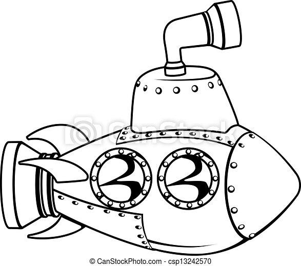 Illustrations vectoris es de sous marin monochrome - Dessin sous marin ...
