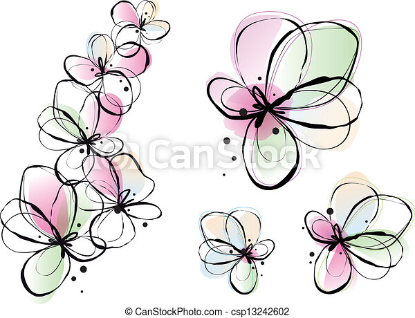 abstract watercolor flowers, vector - csp13242602