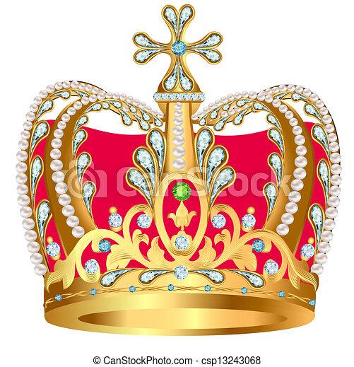 Clip art vecteur de royal or couronne bijoux ornement - Clipart couronne ...