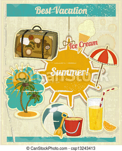 Summer travel card in retro style vintage vacation postcard with - Vector Clip Art Of Summer Vacation Card In Vintage Retro