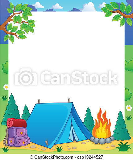 Vector Illustration Of Camping Theme Frame 1 Vector