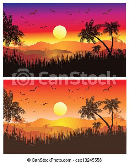 clipart vector of tropical desert sunset landscape of
