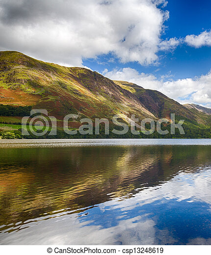 Reflections in Buttermere in Lake District - csp13248619