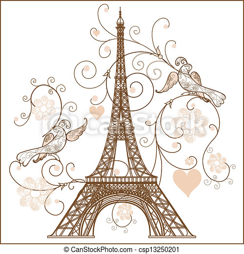 Vector illustration of Eiffel tower - csp13250201
