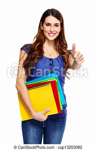 Young woman student with a book. - csp13253082
