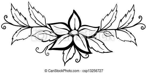 Vecteur , beau, fleur, résumé, flourishes, isolé, noir, blanc, feuilles