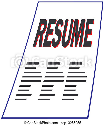 Clipart Vector Of Resume Csp13258955 Search Clip Art