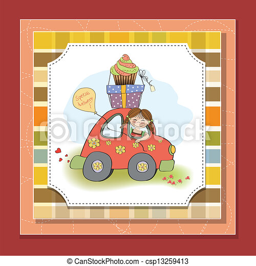 birthday card with funny little girl - csp13259413