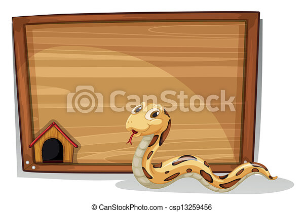 A snake in front of an empty board - csp13259456