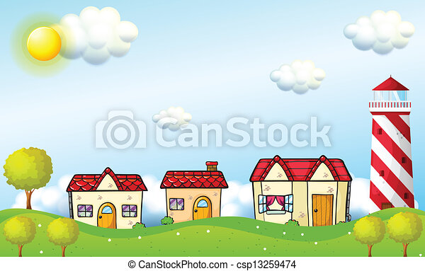 A village with a tower - csp13259474