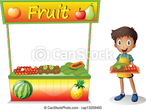 A young boy selling fruits - csp13259493