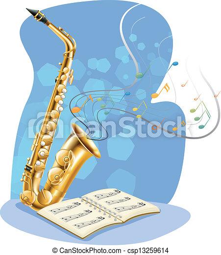 A saxophone with a musical book - csp13259614
