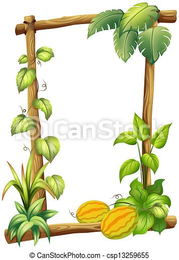 Clipart vectorial de de madera plantas marco - Marcos para plantas ...